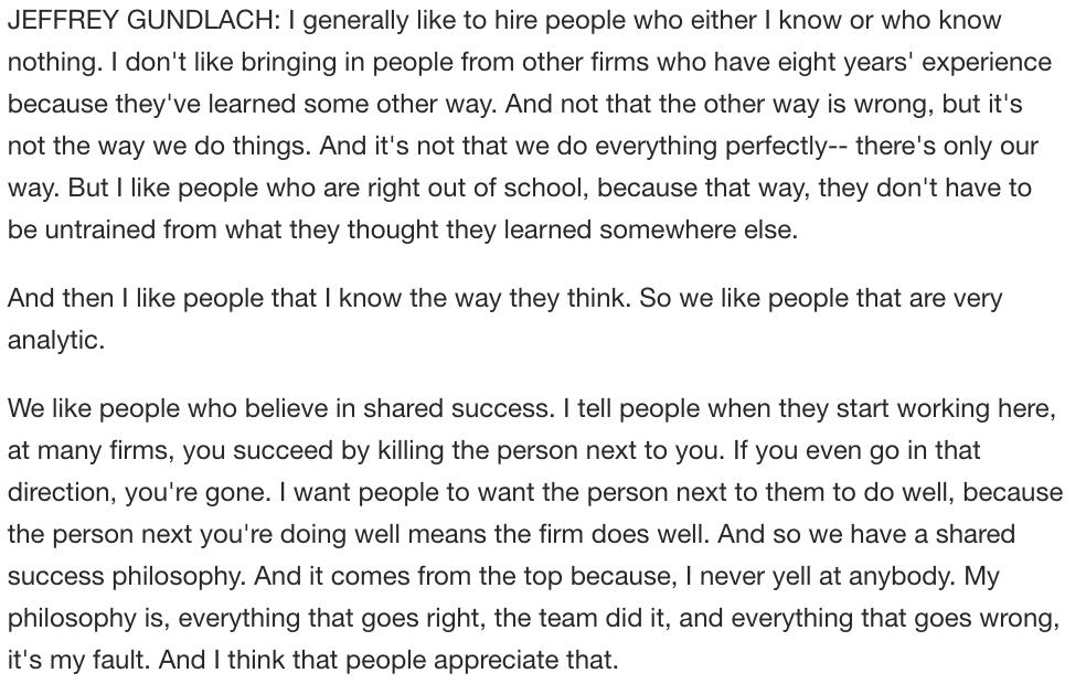 """Gundlach on recruiting and management: """" I generally like to hire people who either I know or who know nothing.""""https://t.co/JZy2SDWszt"""