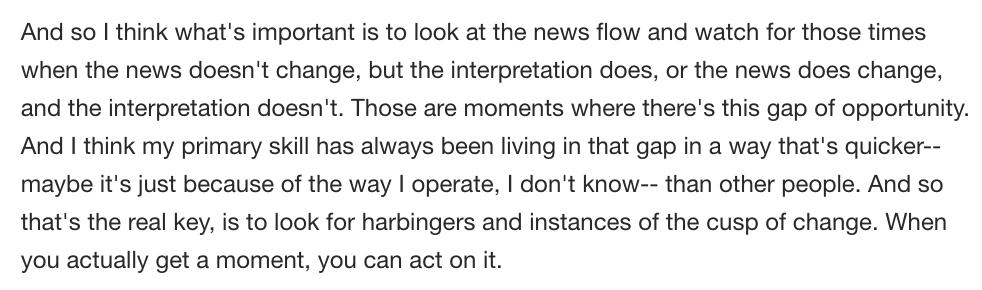 Gundlach on investing opportunities:  'I think what's important is to look at the news flow and watch for those times when the news doesn't change, but the interpretation does, or the news does change, and the interpretation doesn't. 'https://t.co/dPGgf1e3Md
