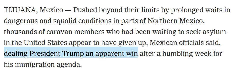 """What an awful framing from the New York Times, describing Trump's success at making migrants so miserable that they don't wait long enough to exercise their legal right to apply for asylum as a """"win."""""""