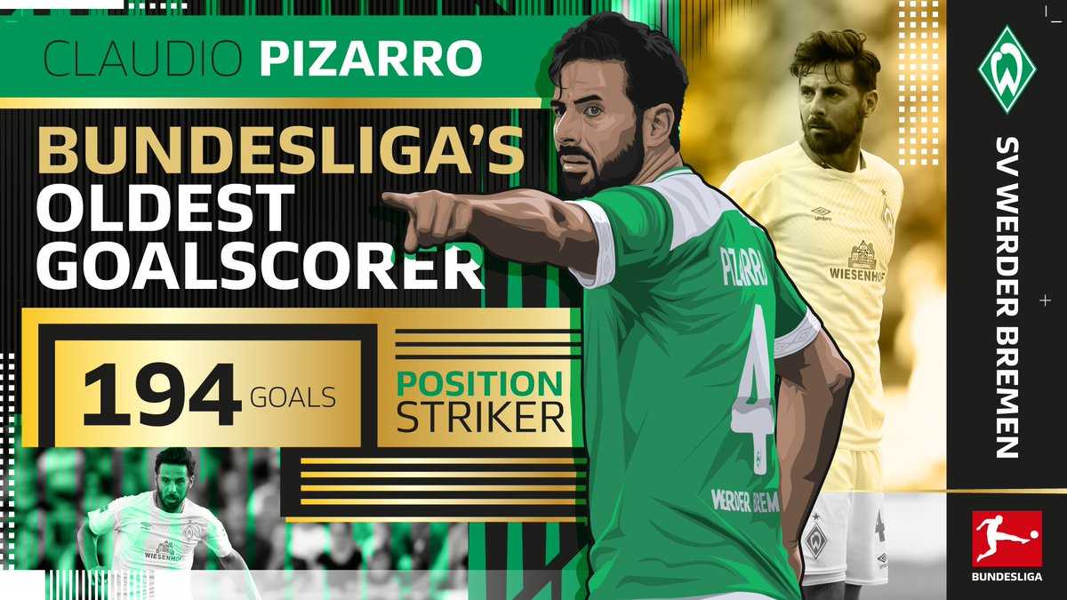 WOW OH WOW! 💥😱👴  @pizarrinha scores with the last kick of the game to become the oldest goalscorer in #Bundesliga history. What a time to break the record! 😵  (90+5') #BSCSVW 1-1