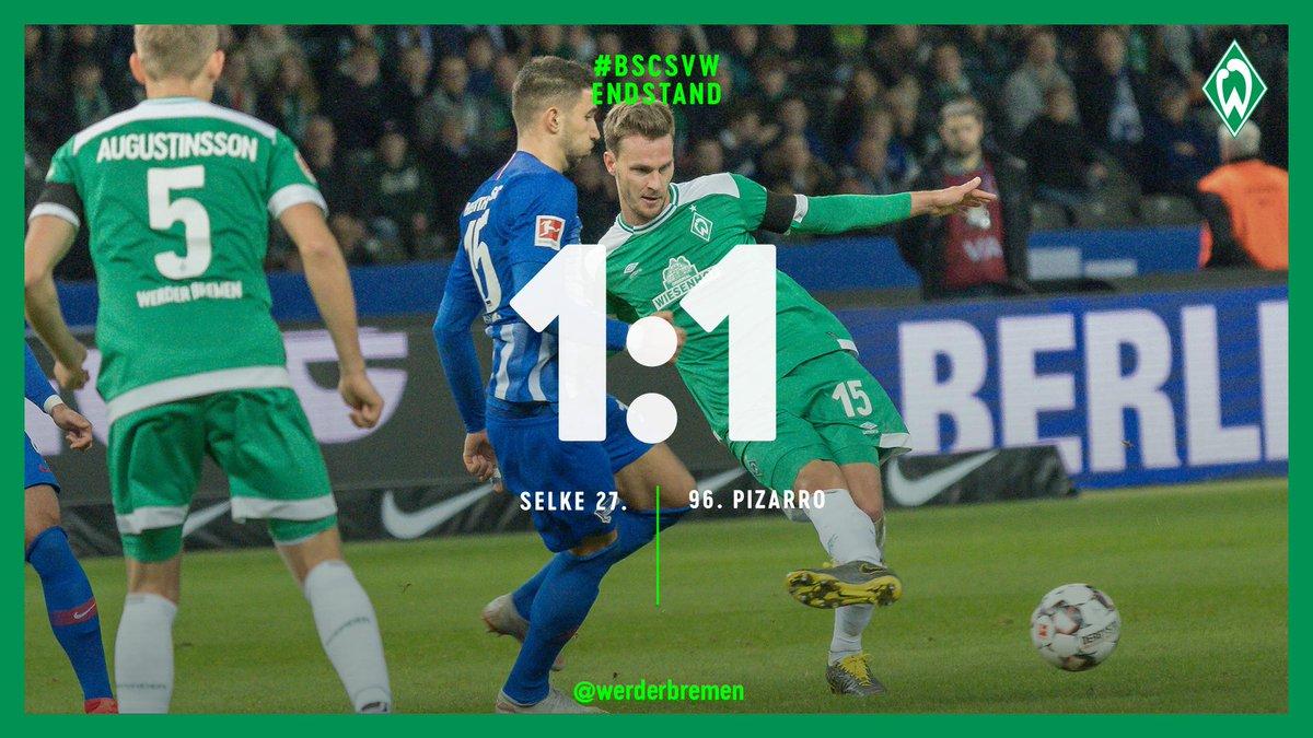 ⏱ 90. +7 Min  Und danach ist Schluss! Wir klauen in letzter Sekunde einen Punkt aus Berlin und diese unfassbare Legende @pizarrinha ist jetzt der älteste Torschütze der @bundesliga_de-Geschichte!  WERDERLIEBE!💚    ⚽️ 1:1  #bscsvw