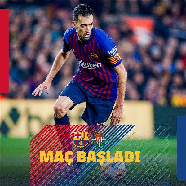 📍 Camp Nou'da maç başladı!  ⚽️ #BarçaValladolid 💪 #ForçaBarça 🔵🔴