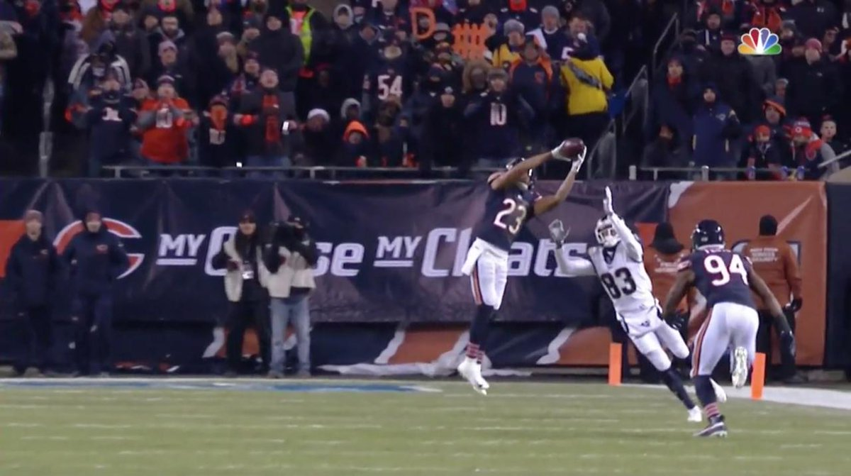T-lead in interceptions in 2018.  The @ChicagoBears CB turns 27 today!  Kyle Fuller's best plays from this season 🐻⬇️