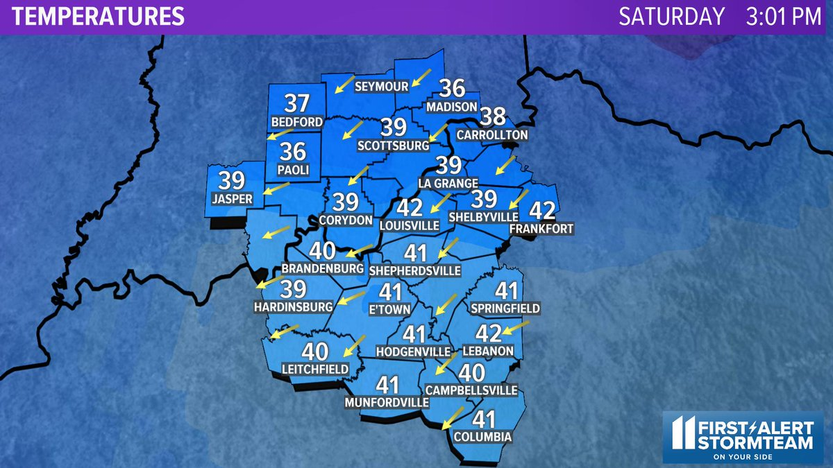 Here are our local temperatures across #Kentuckiana! Check out more weather info on my Facebook page at https://t.co/Dvvwet5zAN and at https://t.co/lDRWKf6F8f.