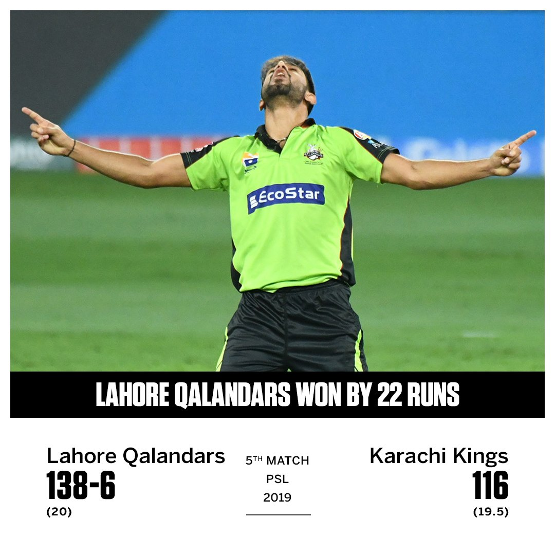 Lahore Qalandars' Haris Rauf with a tremendous bowling performance (4-23) as Karachi Kings are bowled out in their chase!  https://t.co/2Tt3nYiOz1  #PSL4