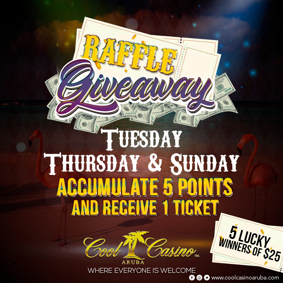 Accumulate 5 points and receive 1 ticker! Every Saturday, here, at your Cool Casino! You could be the 5 lucky winners of $25!  #CoolCasino #Aruba #Riu #Winner #Lucky #Friday #Saturday