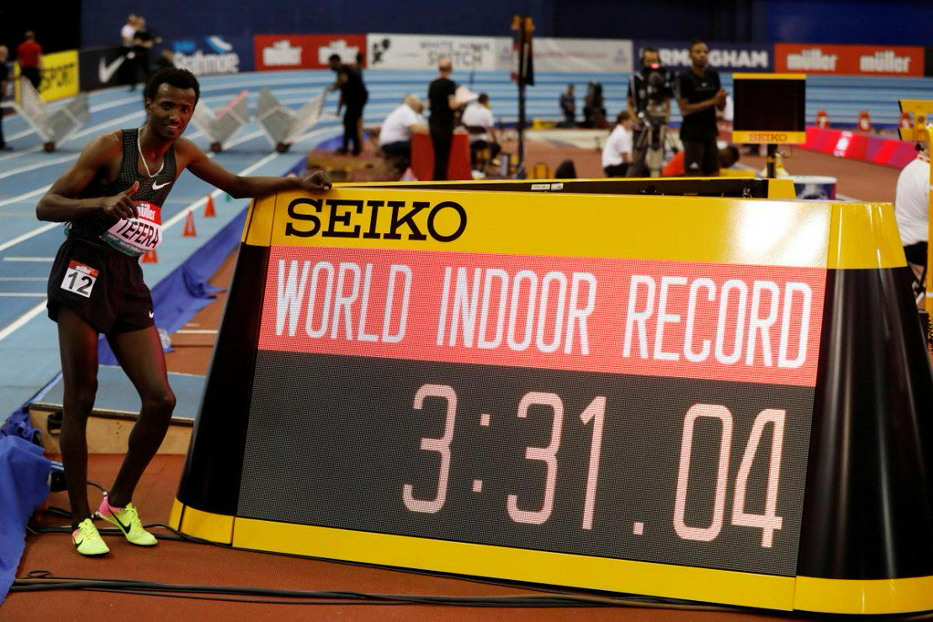 Ethiopia's Tefera breaks world indoor 1,500m record https://reut.rs/2SF5Knb