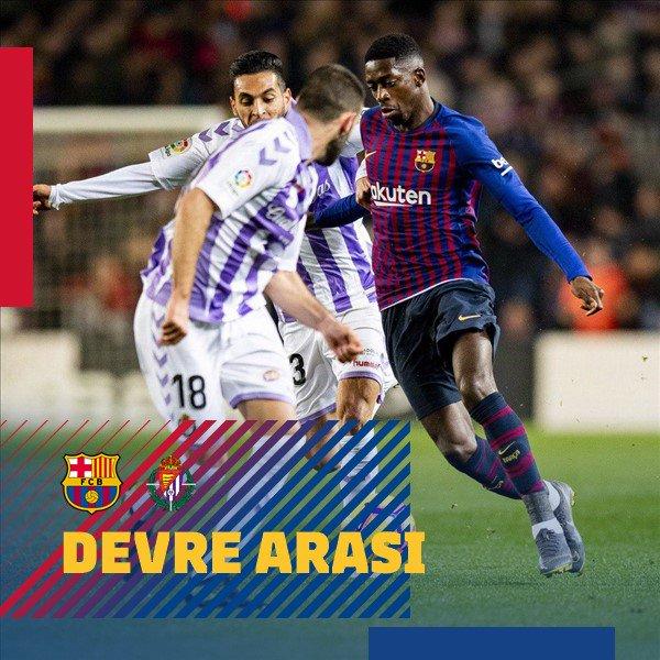 📍 İlk yarı sona erdi! ⚽ #BarçaValladolid (1-0) 👟 Messi (pen.) 🔴🔵 #ForçaBarça