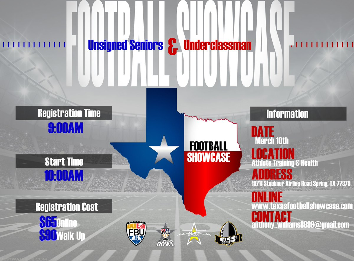 Hey H-Town @TXFBShowcase is coming to Spring, TX on March 10th. Who wants to be evaluated and possibly earn an invite to the @NationalComb1ne, @FBUcamp, @FBUAllAmerican or other elite national events? Get a jump on getting ready for summer college camps. Test. Compete. Showcase.