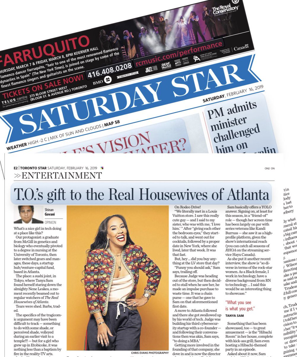 Extra extra read all about it!! 🍁🍁🍁🍁🇨🇦🇨🇦Thank you @shinangovani I can't believe this!! I feel like I won a noble prize 🤗🤗 @TorontoStar #rhoa #theSix #grateful #hometownproud