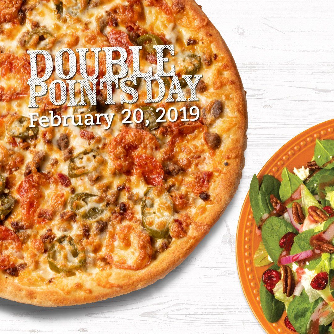 Two new items on the buffet means TWO times the points! 👏👏 Visit us Wed Feb 20 for Double Points Day!   Featured on our buffet for a limited time is our NEW Bucking Bronco pizza, & a fan favorite is back - Crantastic Salad! 🍕🥗 Which one are you most excited to try?