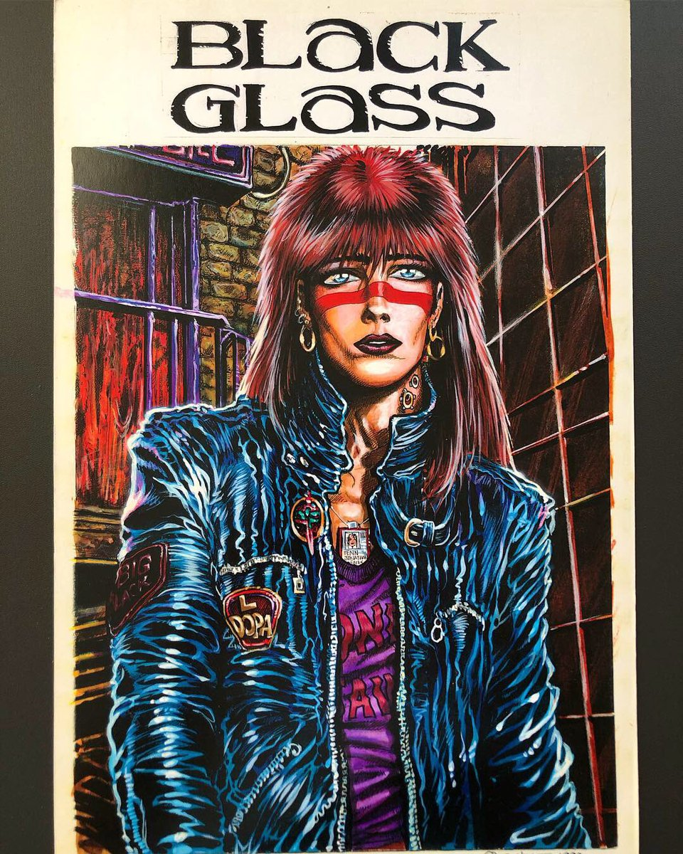 "I've been posting artwork on my Instagram from my and James O'Barr's long-lost 90s cyberpunk comics ""Golgothika"" and ""Black Glass."" Here's James' cover for what would have been issue 1, 1990. https://www.instagram.com/johnxbergin/  #comics #thecrow #cyberpunk #art #illustration"