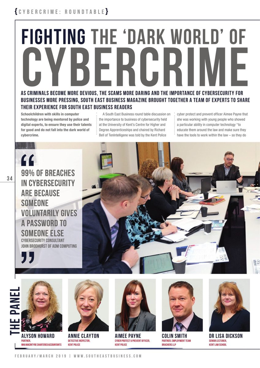 Highlights from a #cybercrime roundtable for Kent businesses I recently chaired for @SEBmagazine    #Protection #cybercrime #CyberSecurity #cybercrime  @TenIntelligence   Our Intelligence | Your Assurance