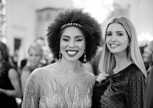 """Women supporting women is beautiful!💓I want to give a huge shout out to this power woman (& how lucky she's a fan of my music) @IvankaTrump I've  watched you fight for women's business & rights & fight against humantrafficking.👏🏾Do you agree she is incredible? Leave a """"💓"""" below"""