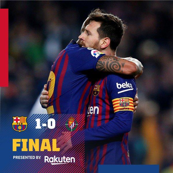 📍 Fim de jogo no Camp Nou! 🏟 ⚽️ #BarçaValladolid (1-0) 👟 Leo #Messi   🏆 @LaLigaBRA  🔵🔴 #ForçaBarça