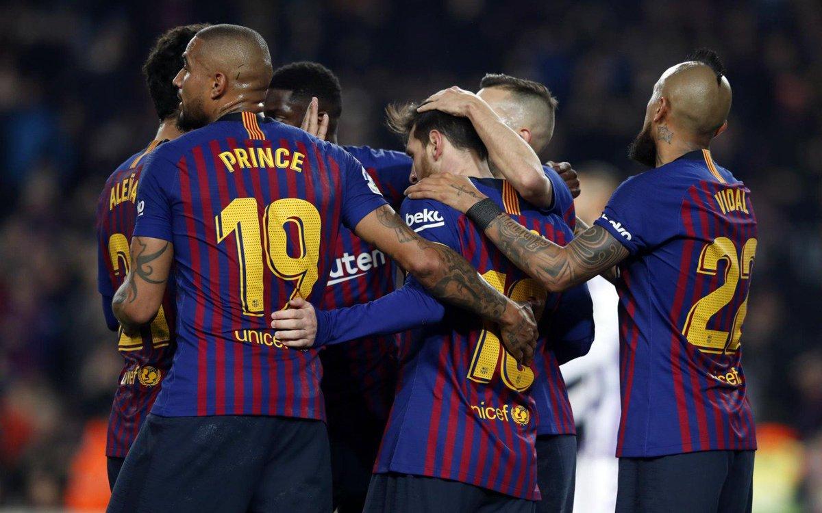 👑 Uma vitória importante e vantagem na liderança da @LaLiga mantida. Parabéns, equipe! 👏 ⚽️ #BarçaValladolid (1-0)  🔵🔴  #ForçaBarça