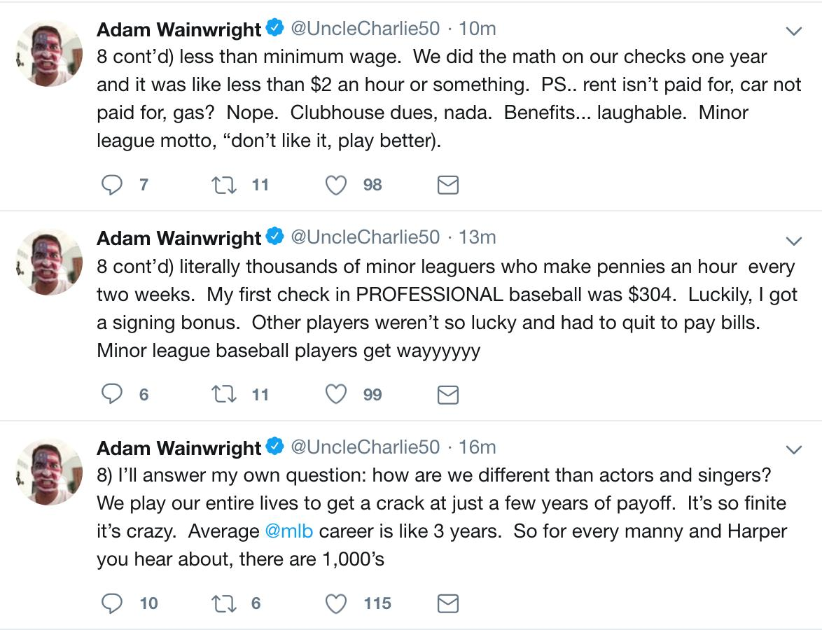 Adam Wainwright has been tweeting some very salient points about players&#39; positions in baseball and why it&#39;s important to support their labor movement. <br>http://pic.twitter.com/TU737zIFm6