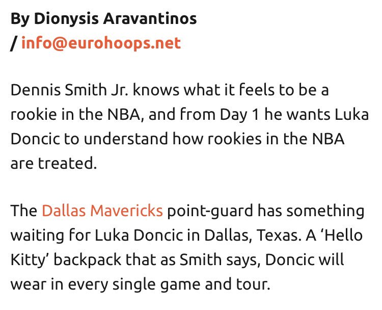 """June 2018 - when Dennis Smith Jr gave rookie Luka Doncic a """"Hello Kitty"""" backpack and told him to wear it all season  vs  Feb 2019 - when Smith's been traded and the backpack's been forgotten"""