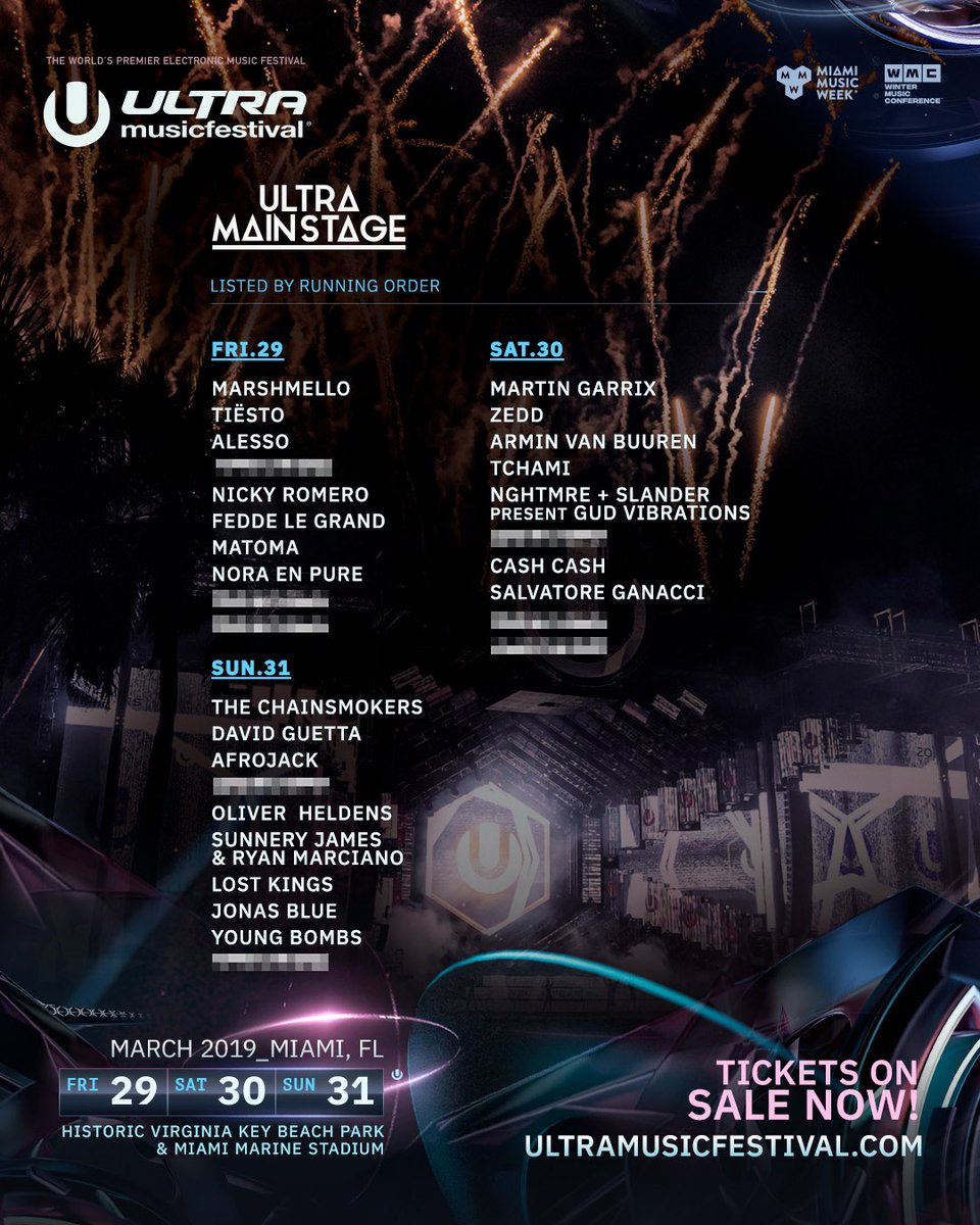 Presenting the lineup of top-tier DJs who will be providing the soundtrack to this year's Ultra Main Stage!