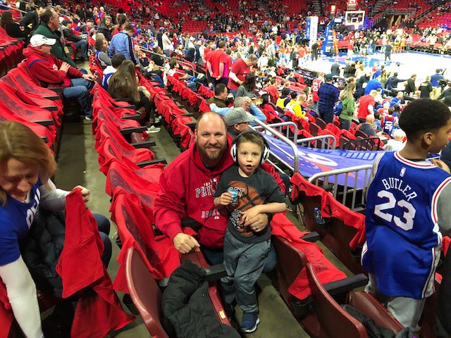 Shout out to the @sixers for sharing tickets with these two! They had a blast 🏀 #fathersontime #sixers #philly