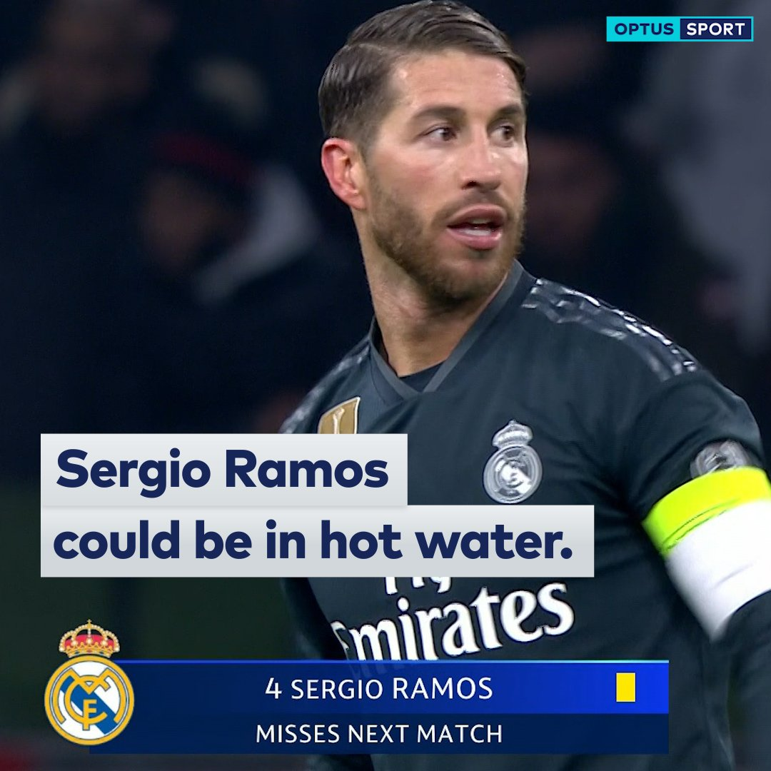 Sergio Ramos could be in hot water.  The Madridista is facing a suspension for the #ChampionsLeague quarter-finals following an UEFA investigation...  #OptusSport #UCL