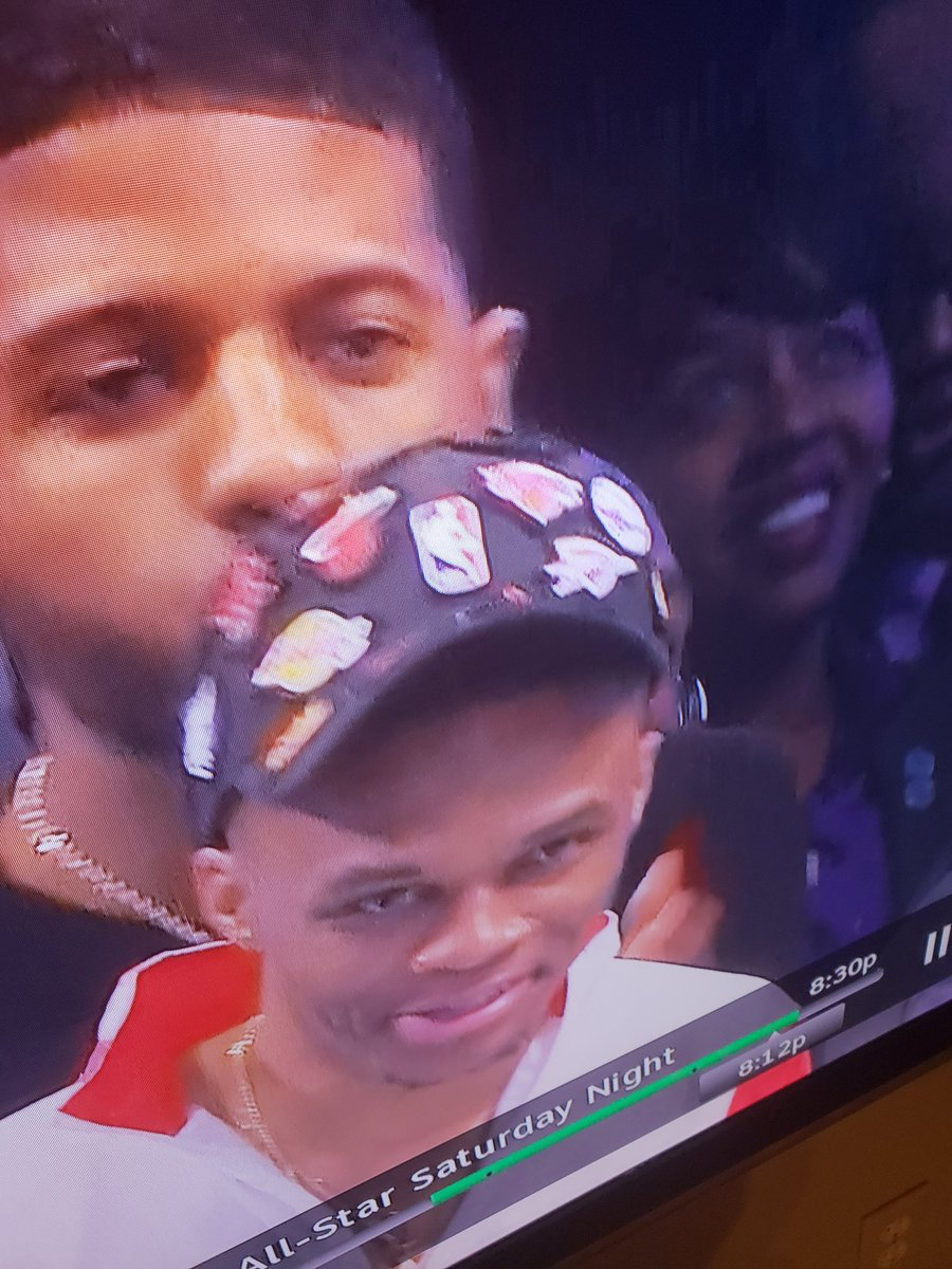 """#RussellWestbrook with the """"teams AD wants to play with other than New Orleans"""" hat #NBAAllStar"""