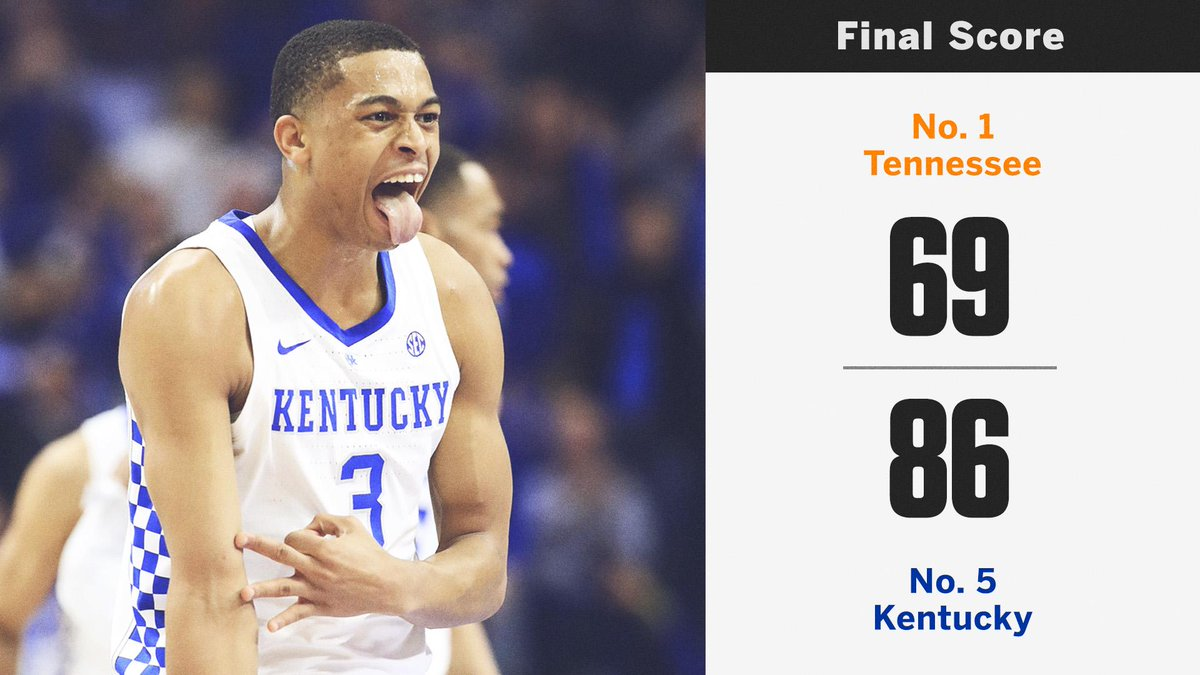 BIG BLUE NATION!  No. 5 Kentucky gets dominant win over No. 1 Tennessee at Rupp Arena.