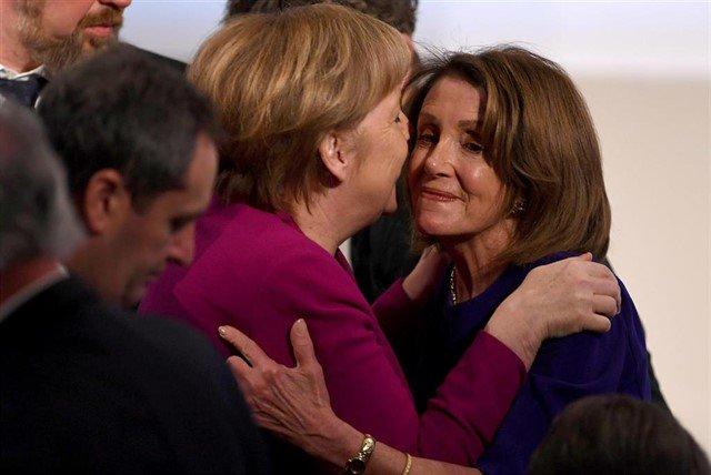 The two most powerful women in the world. Angela Merkel and Nancy Pelosi in Munich.
