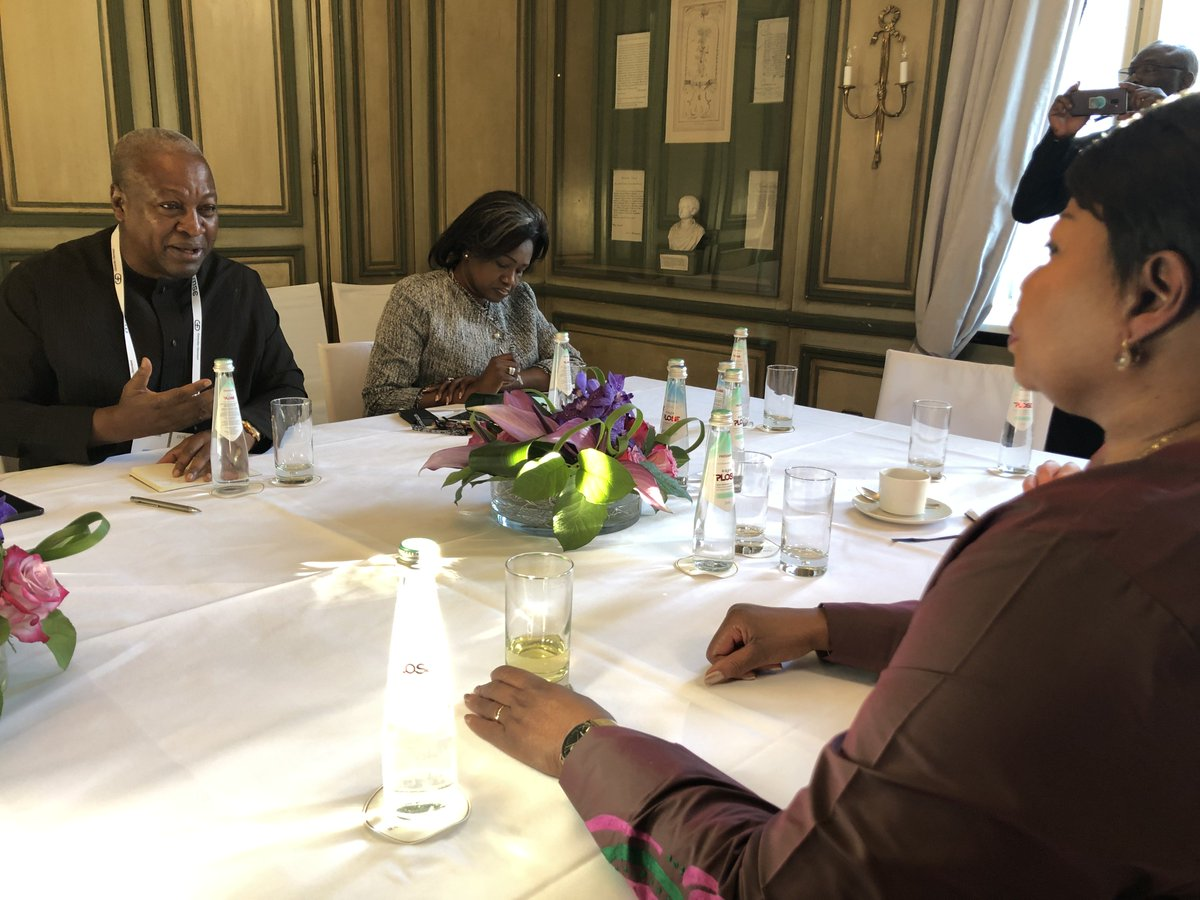 #ICC Prosecutor #FatouBensouda & H.E. @JDMahama, former President of #Ghana held helpful discussions earlier today in the margins of #MSC2019 about #ICC-#Africa relations, and the need for greater #dialogue and awareness about the Court, its activities and mandate @TanaForum