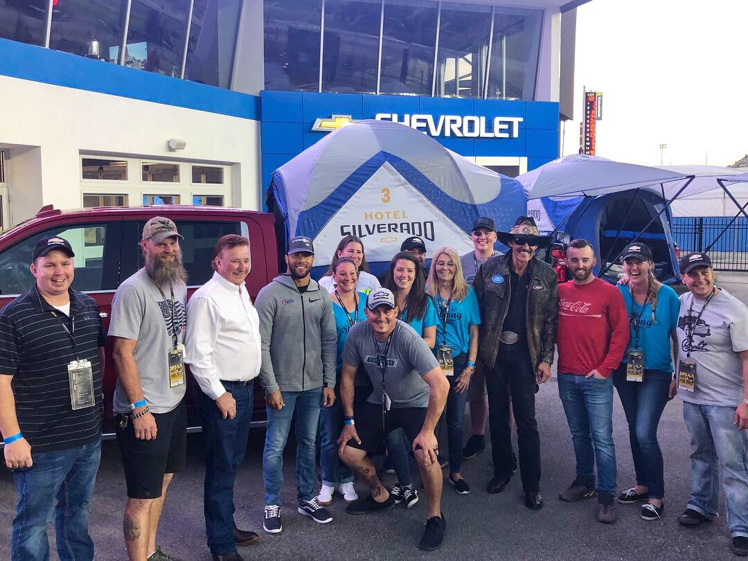 "The King and @BubbaWallace joined participants of Chevrolet's ""Hotel Silverado"" program, the first of its kind which awards deserving fans camping inside @DISupdates at the Chevrolet Experience Center.  Check it out!  #hotelsilverado #chevrolet  #teamchevy"