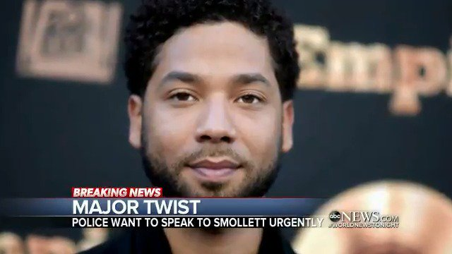 """MAJOR TWIST: Police in Chicago are saying that they """"urgently"""" want to speak to """"Empire"""" actor Jussie Smollett as investigators say new information has """"shifted the trajectory"""" of their probe into an alleged attack on Smollett. @ErielleReshef reports. https://abcn.ws/2SEth7v"""