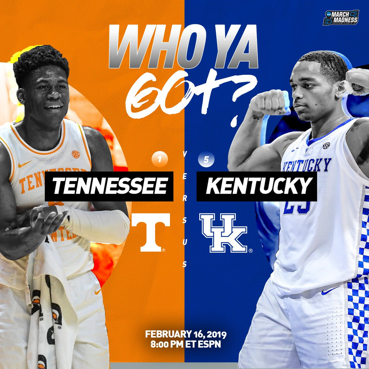It's going down in Rupp Arena. 🔥  No. 1 Tennessee. No. 5 Kentucky. Who ya got?