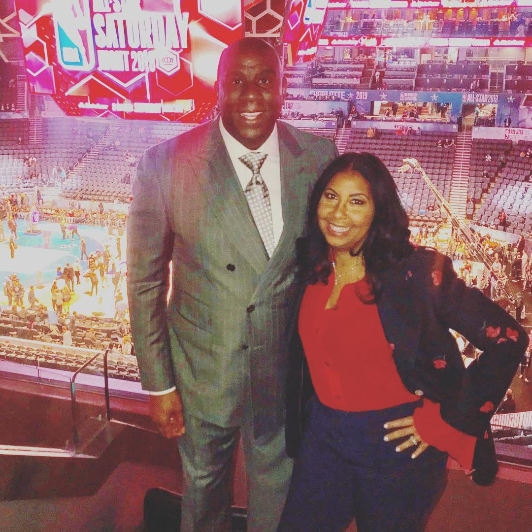 Cookie and I having a great time at our 39th NBA All Star Saturday night.