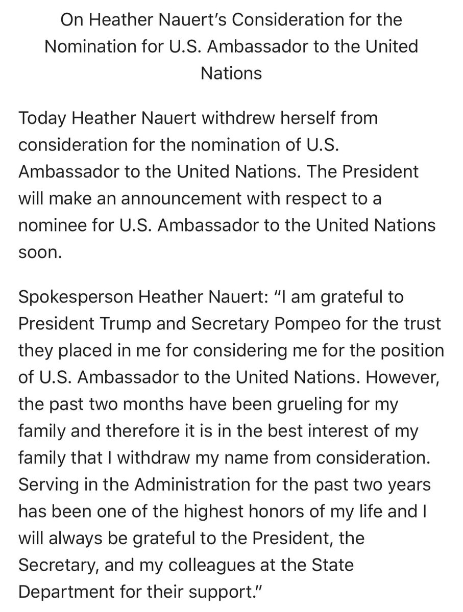 Nauert withdraws