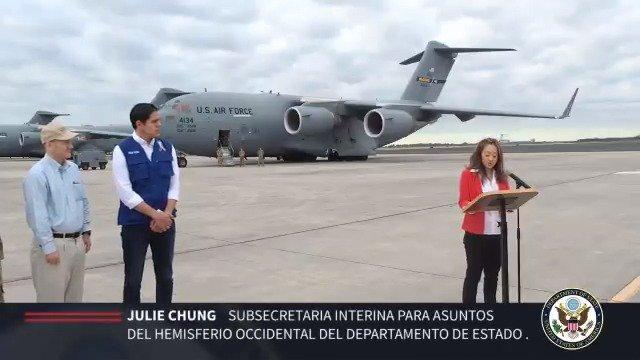 #16Feb En imágenes: Salida del primer avión militar C-17 de Estados Unidos que llegó a Cúcuta este sábado para entregar cargamento de ayuda humanitaria para los venezolanos. #EstamosUnidosVE  - @USAenEspanol
