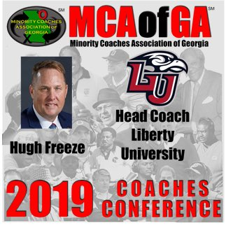 Hugh Freeze will be the 12pm speaker on Friday 2/22/19 at Atlanta Metropolitan State College Conference Center.  Registration starts at 9am and all coaches can preregister at  http://www. mcaofga.com  &nbsp;  <br>http://pic.twitter.com/LccRa2iuxw
