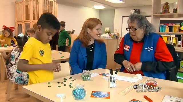 PRICELESS CONNECTION: Foster grandparents, like 95-year-old Clementene Bates in Washington D.C., are volunteers in a national program that help build friendships spanning generations between the young and the elderly. @karentravers reports. #AmericaStrong https://abcn.ws/2FLyzTu