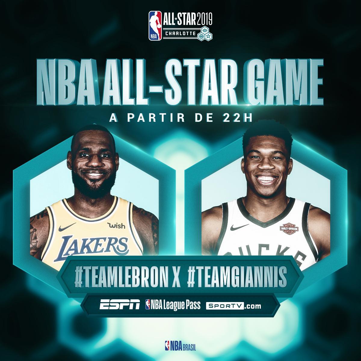 Finalizando o #NBAAllStar, #TeamLeBron e #TeamGiannis se encaram às 22h neste domingo! Assista ao vivo na ESPNagora, SporTV .com e NBA League Pass. #AllStarGame #NBAnaESPN #NBAnoSporTV