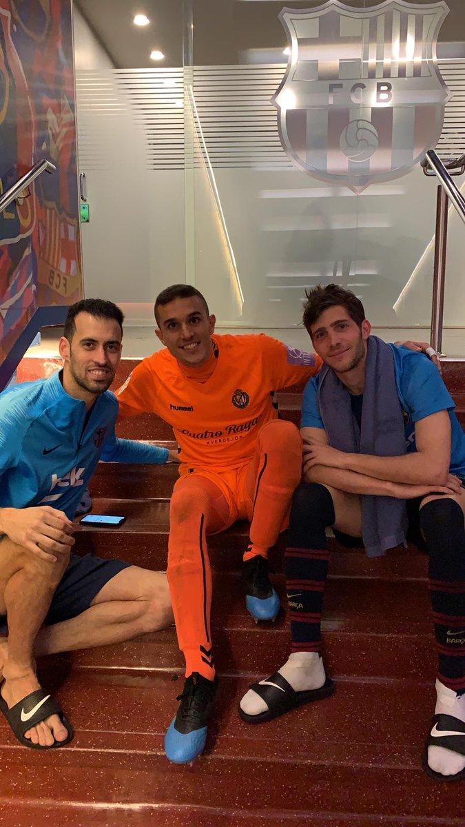 Old friends. 😀Sergio Busquets 😀Jordi Masip 😀Sergi Roberto #BarçaValladolid