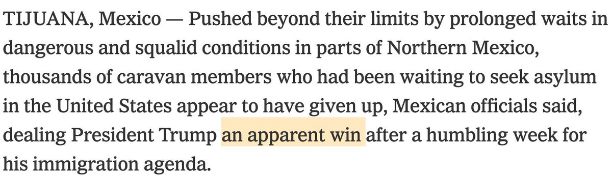 The first paragraph of the story leading the home page of the New York Times at the moment. https://www.nytimes.com/2019/02/16/us/border-migrants-asylum-mexico-aclu.html…