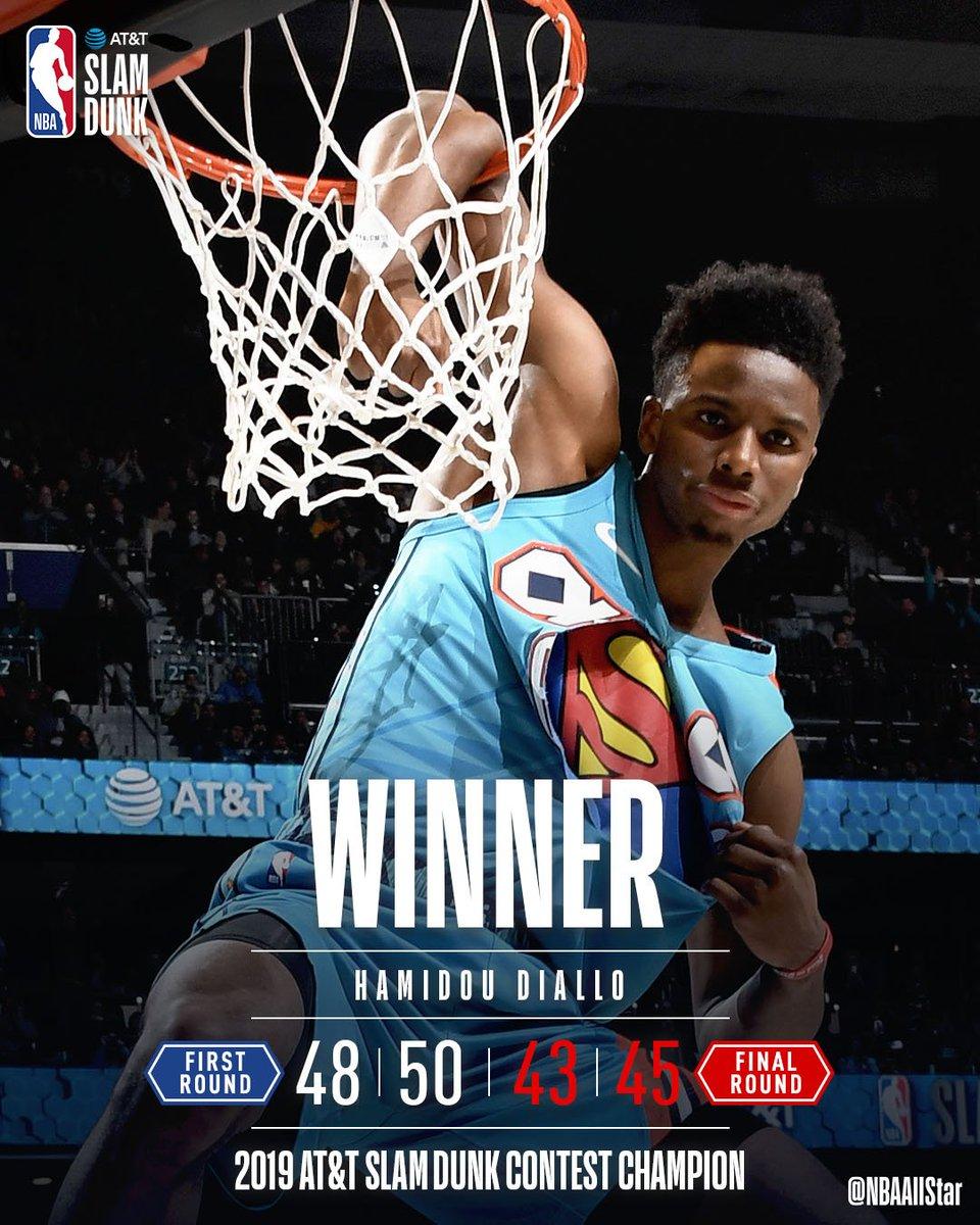 Congrats to the 2019 #NBAAllStar #StateFarmSaturday champions!  #ATTSlamDunk - @hamidoudiallo   #MtnDew3PT - Joe Harris #TacoBellSkills - @jaytatum0