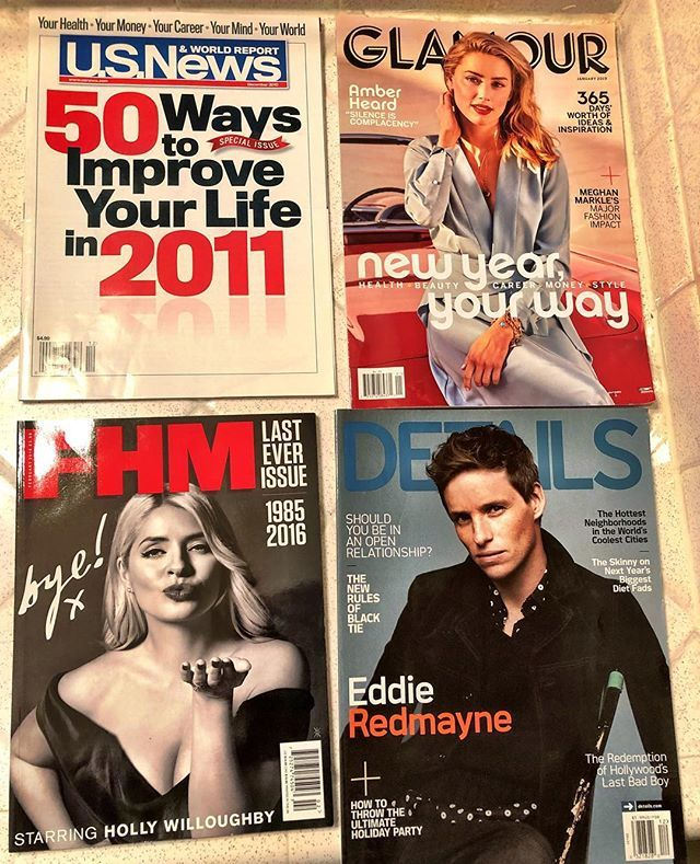 Sayonara:  #Glamour #Details #USNews&WorldReport #FHM Their last printed issues ever. RIP It's my morbid collection. Sure, print is dead and maybe some of the magazines will live on...but not likely.  Kudos to FHM which left with a bye and a lovely kiss-…  https://t.co/B2ofsinEI2