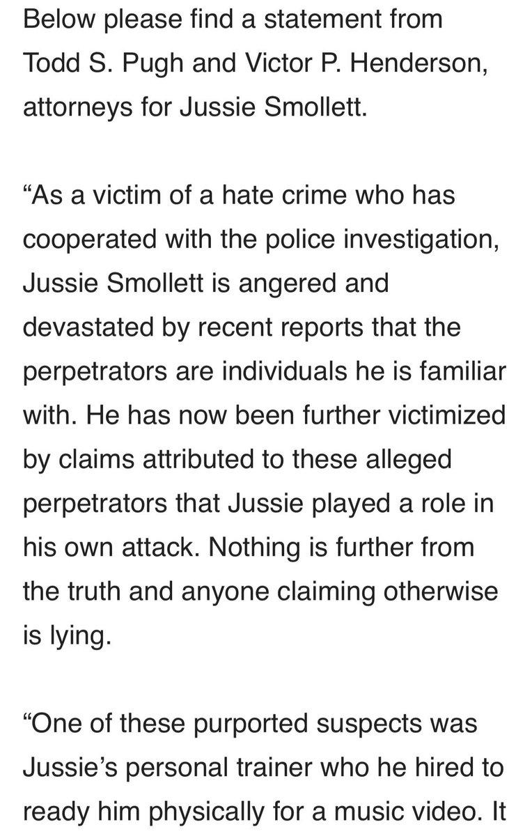 Attorneys representing #JussieSmollett release this statement... 1/2