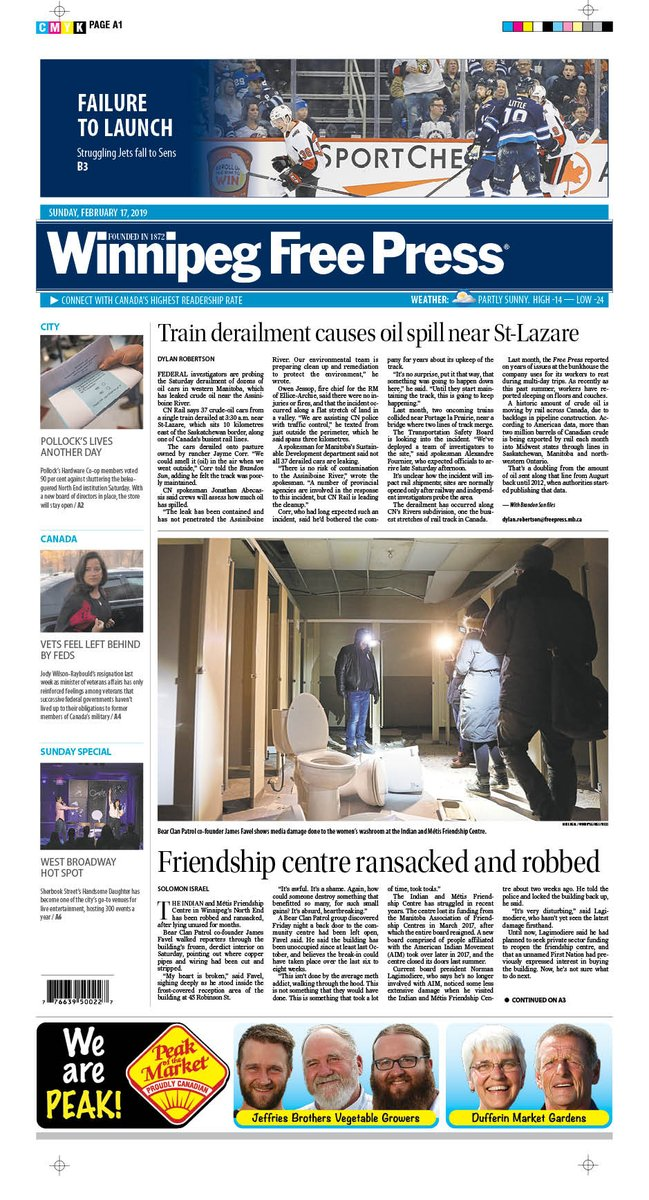 On the front page of Sunday's @WinnipegNews: Friendship centre ransacked and robbed #wfp
