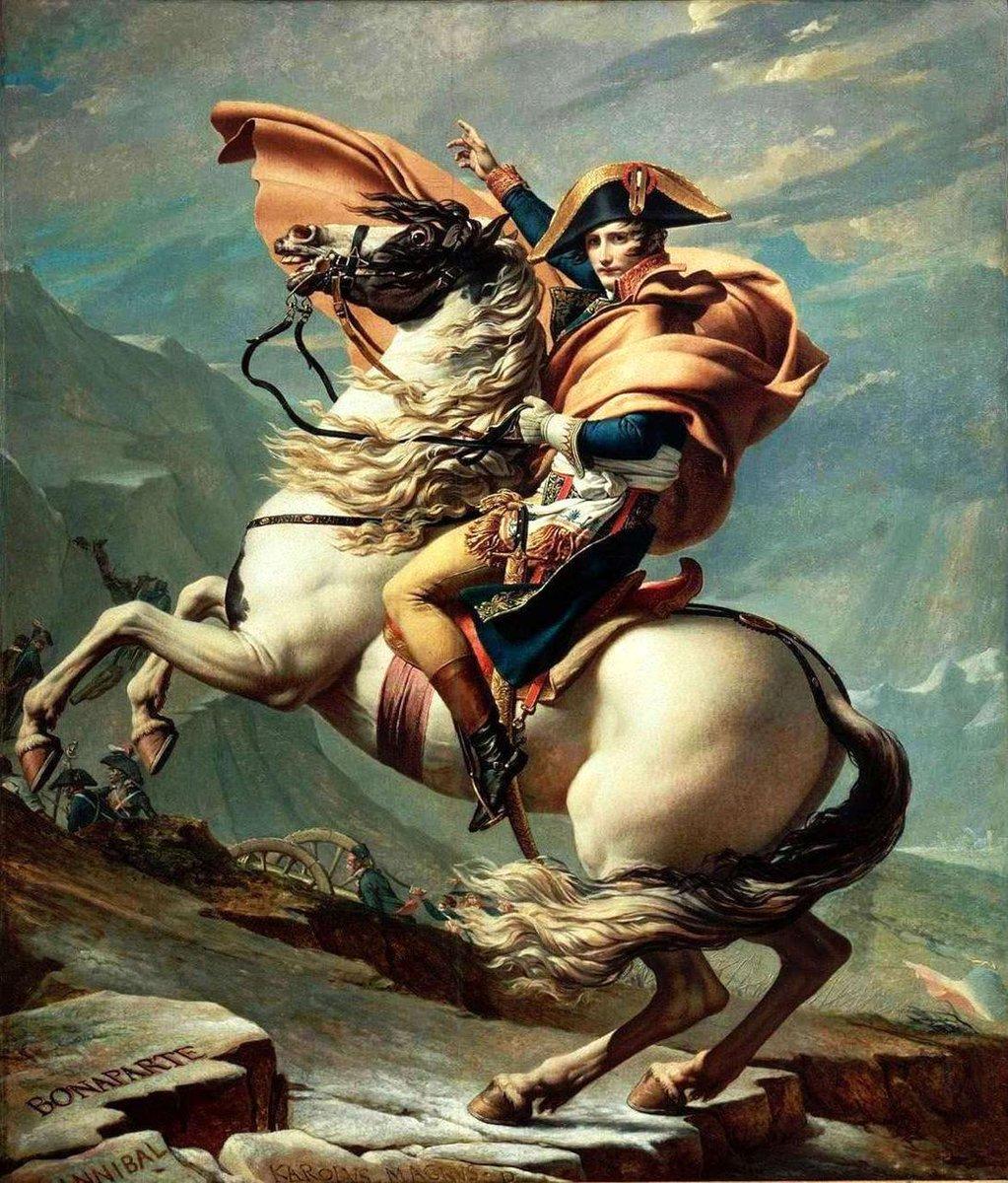 """لفقرة #ألوان اخترنا لكم اللوحة الشهيرة """"نابليون يعبر جبال الألب"""" للرسام جاك لوي ديفيد .. مع قصتها"""