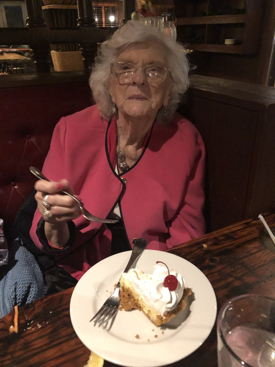 My 92 year old mother in law enjoying some coconut creme pie at Captain Anderson's in Panama City beach tonite and reminiscing about a lifetime of family beach trips to this timeless destination. <br>http://pic.twitter.com/w6jULKTCUh