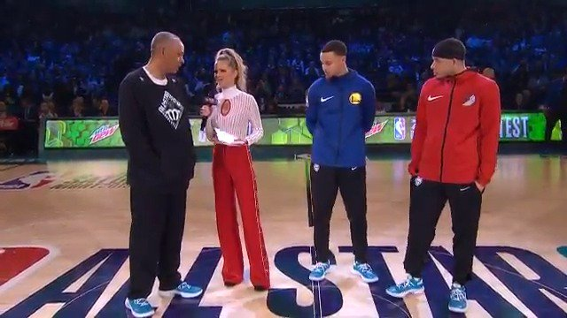 Dell, Steph, and Seth Curry chat before Dell invites 3-point legends out to shoot for charity! #ThisIsWhyWePlay