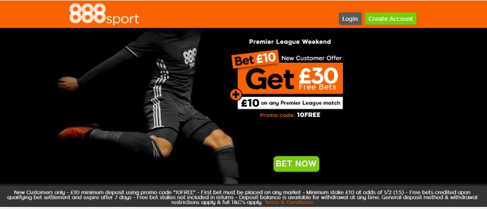 888Sport #football #PremierLeague #Championship #ChampionsLeague #EFL #MUFC #MCFC #LFC #Spurs #ManUtd BET £10 Get £30 IN FREE BETS + Extra £10 on Premier League bet any sport :Use Promo Code: 10FREE New Customers only Over 18s only T & Cs apply Claim➡️http://bit.ly/extra888