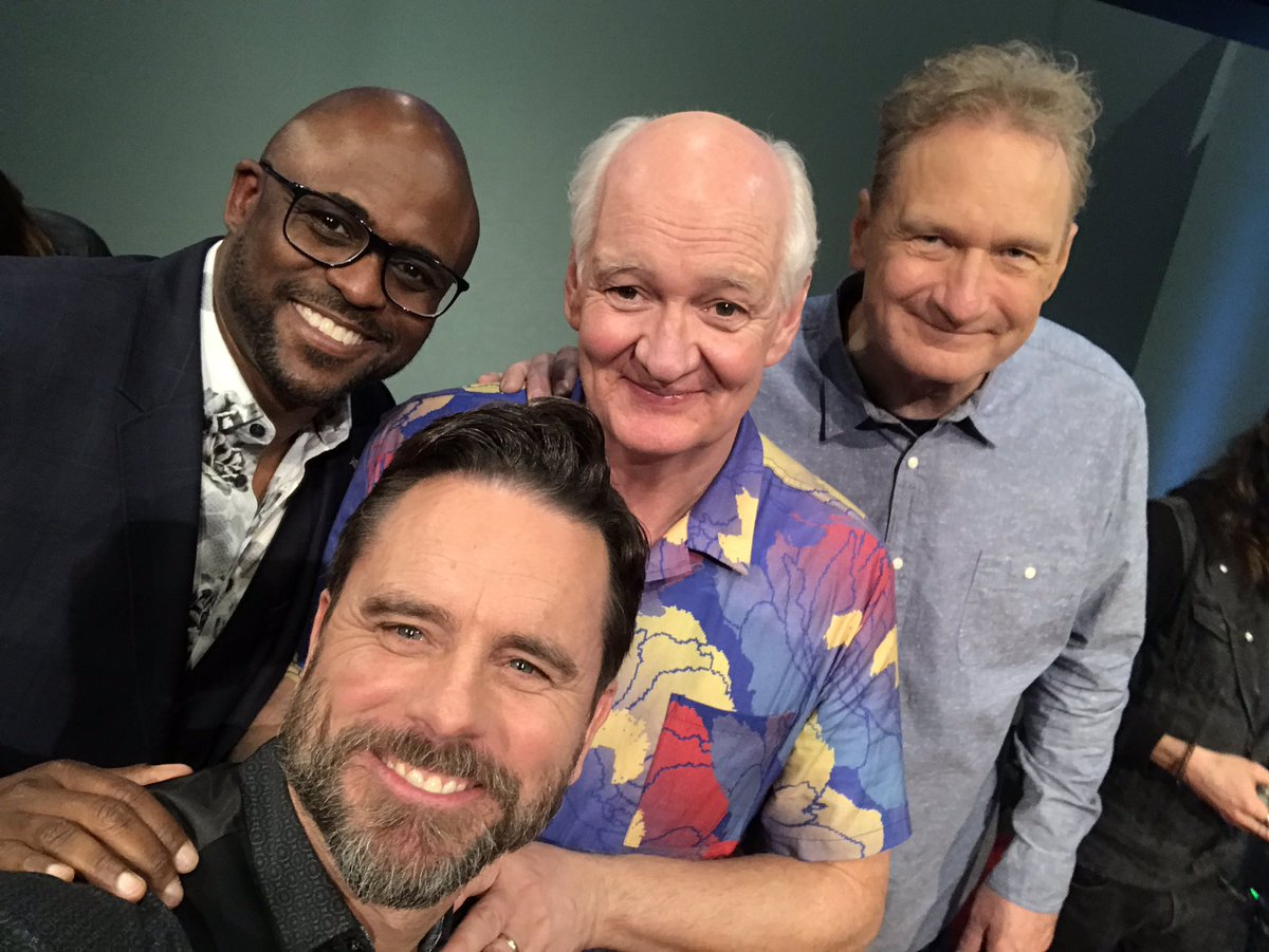 Life is funny. And these guys are hilarious. So great to be back in the 4th chair again, makin' stuff up with these legends/friends! @cwwhoseline #dejawhose #waynebrady #colinmochrie #ryanstiles #aishatyler