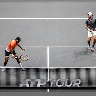 Really happy to be in another @atptour finals after a year  here in @nyopentennis by the grace of Almighty Allah. Won a really tough battle today with amigo @gonzalezsanty 64 36 12-10 Super excited n looking forward to our finals on sunday at 2pm in sha Allah